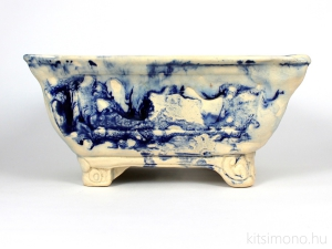 cracked, glased, shohin bonsai pot, exclusive, woodenbox, kitsimono, ceramics