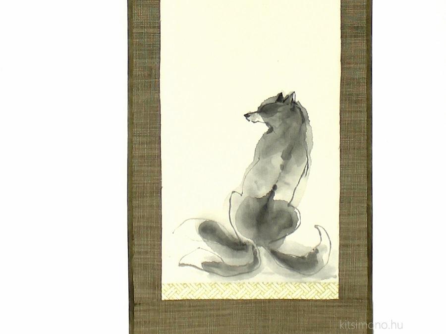 kitsune kakejiku kakemono sumie japanese ink painting kitsimono