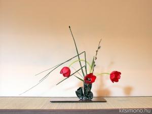 kitsimono, kicsimono, ikebana, tulipan, tulip, 生花 チューリップ