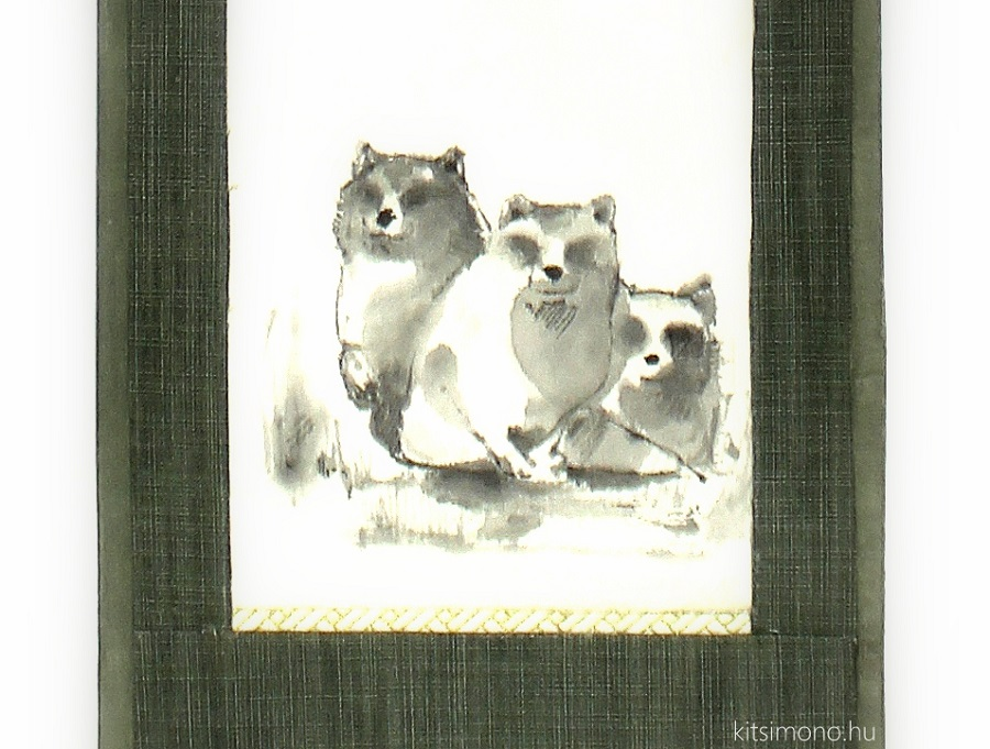 kakemono harom tanukis kitsimono sumie ink painting
