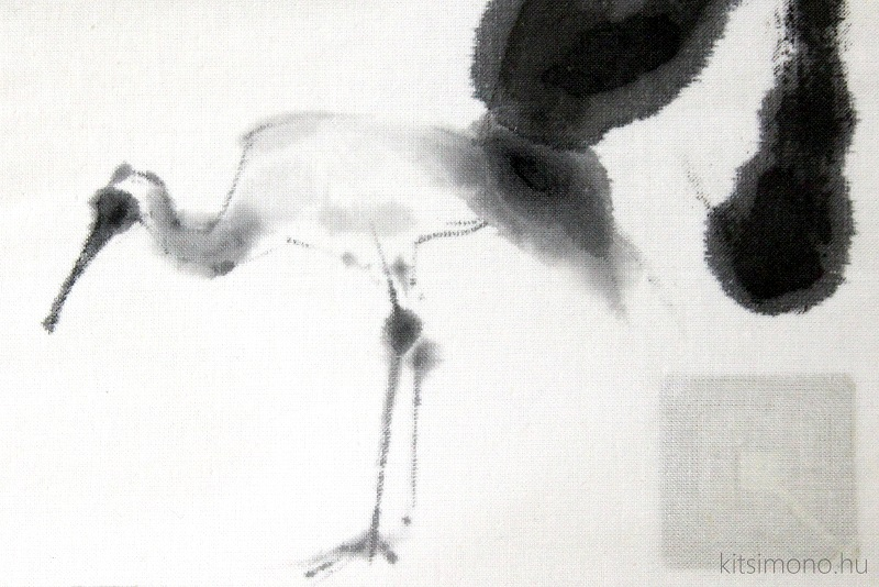 kitsimono kakemono japanese crane sumie contemporary ink painting art (4)