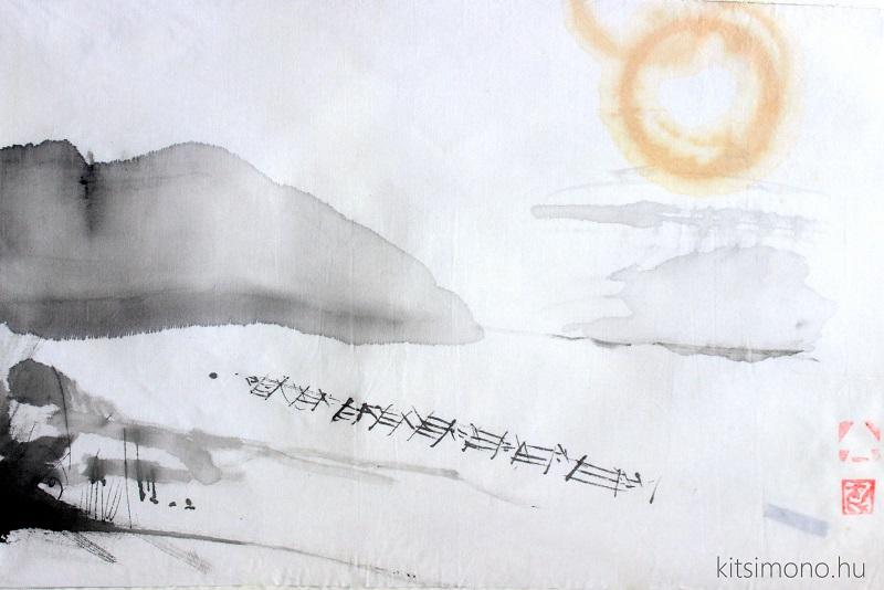 kitsimono kakemono snow wine landscape sumie painting on honshi (3)